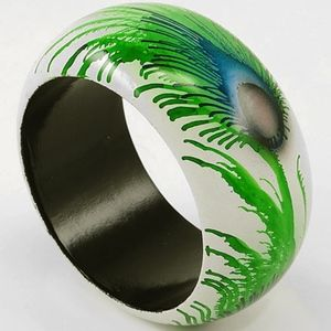 Hand Painted Wood Bracelet - Peacock Feather